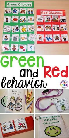 Green and red choice behavior management techniques (posters songs individual choice boards class books and children's books to support) perfect for preschool pre-k and kindergaten Behavior Management System, Classroom Behavior Management, Behaviour Management Strategies, Behavior Board, Behavior Interventions, Behaviour Chart, Positive Behavior Chart, Positive Reinforcement, Special Education Classroom