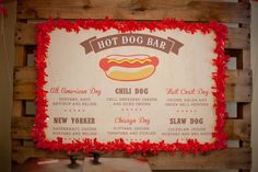 Awesome sign at a Hot Dog Bar party! See more party ideas at CatchMyParty.com! #partyideas #hotdog