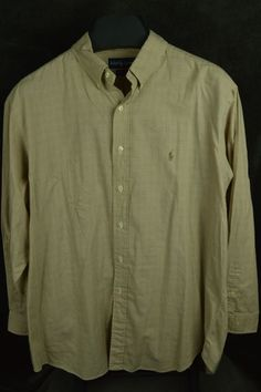 Ralph Lauren mens 17.5 34-35 tan yarmouth cotton LS shirt plaid FREE SHIPPING #RalphLauren