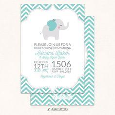 Elephant Baby Shower Invitation / Little Peanut Shower