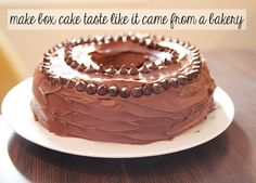 Make a box cake taste like it comes from a bakery: Following directions on back of box, add an additional egg, use melted butter in place of oil and double the amount, substitute milk for oil, mix well and bake according to package directions.