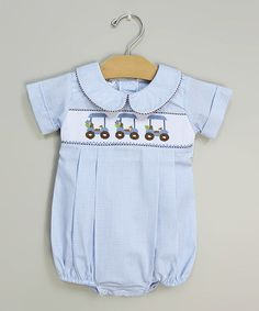 Take a look at this Blue Golf Smocked Bubble Bodysuit - Infant & Toddler by Sweet Teas Children's Boutique on #zulily today!