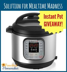 Instant Pot Giveaway and 7-day Meal Plan! - http://www.proverbialhomemaker.com/the-solution-to-mealtime-madness-instant-pot-pressure-cooker.html