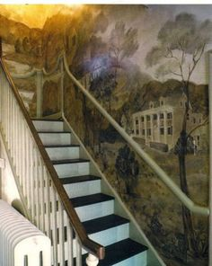 64 Ideas For Wall Murals Painted Stairways Staircases Ceiling Murals, Wall Murals, Decoration, Art Decor, Stencil Decor, Colonial Furniture, Grand Staircase, Mural Painting, Wall Treatments