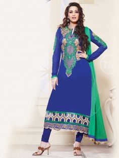 Blue Georgette Suit With Embroidery Work www.saree.com