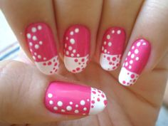 Pink And White Dot Nail Design Nails Pretty Art Ideas Designs