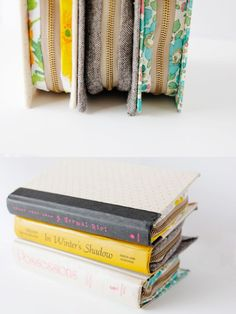Tutorial to make bag from a book. Could use a vintage book & leave the cover showing. Could do in any size, even to make a laptop case. Could add a shoulder strap.