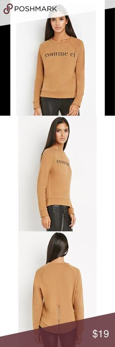 Forever21 Sweater: Zipper Cute zipper on the back of this super comfortable sweater Forever 21 Sweaters