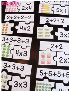 Repeated addition games students can play during math centers like these fun arrays puzzles that make introducing multiplication and equal groups exciting for kids Multiplication Activities, Math Games, Math Activities, Numeracy, Division Activities, Multiplication Tables, Multiplication Problems, Leadership Activities, Word Games