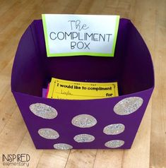 The Compliment Box Inspired Elementary - Freebie! This is a must-have in the all classrooms. Year 6 Classroom, Ks2 Classroom, Future Classroom, Highschool Classroom Decor, Preschool Classroom Setup, Teacher Classroom Decorations, Fun Classroom Activities, Classroom Setting, Classroom Resources