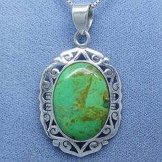 Australian Gaspeite (Rare) Jali Filigree Pendant Necklace - Sterling Silver
