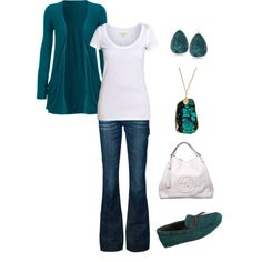 """""""Teal Jersey Cardigan"""" by mmessenger on Polyvore"""