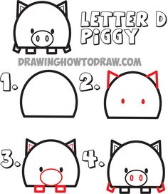 how to draw cartoon pigs from the letter D shape