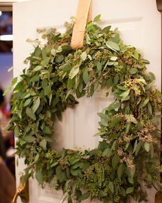 Real greenery.  Adore this eucalyptus wreath.