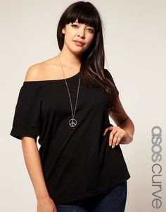 6df5fc9d24de52 ASOS CURVE Exclusive Off Shoulder T-Shirt  21.11 Off The Shoulder Tee