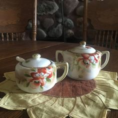 Vintage NIPPON Sugar Bowl And Mustard Pot With The Rising Sun
