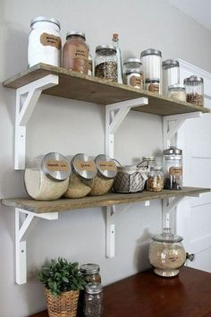 Small Kitchen Makeover Stunning Diy Kitchen Storage Solutions For Small Space And Space Saving Ideas No 49 - Stunning Diy Kitchen Storage Solutions For Small Space And Space Saving Ideas No 01 Kitchen Storage Solutions, Diy Kitchen Storage, No Pantry Solutions, Shelves For Kitchen, Kitchen Shelf Decor, Kitchen Display, Cuisines Diy, Sweet Home, Diy Casa