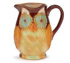 Hand-painted resin owl, fox, and butterfly banks in brightly colored shapes. Owl is hot pink/light pink/yellow.Owl: 3 X 3 X X 3 3 X 3 X 2 SOLD INDIVIDUALLY Owl Kitchen, Kitchen Dining, Kitchen Ideas, Kitchen Decor, Iced Tea Pitcher, Burton Burton, Creepy Halloween Decorations, Whimsical Owl, Owl Mug