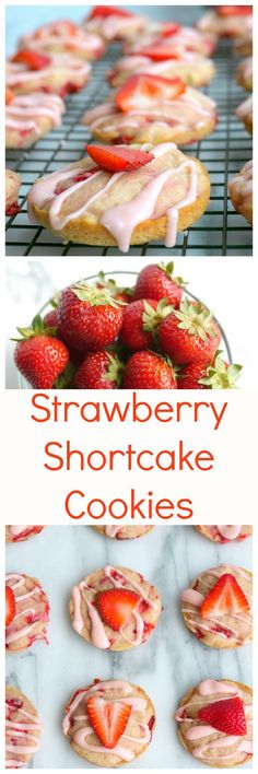 Soft Baked Strawberry Shortcake Cookies made with fresh strawberries and cream. You will be shocked at how much they mimic traditional strawberry shortcake, from NoblePig.com.