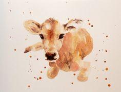 Watercolor calf - Etsy