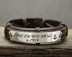 Custom Mens Leather Bracelet, Coordinate Bracelet, Latitude Longitude Bracelet, Anchor Bracelet, Date Bracelet, Engraved Bracelet for Mens