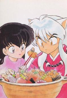 Kagome, InuYasha, and Myoga with a bowl of food - InuYasha; Original artwork. By: Rumiko Takahashi