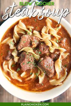 Slow Cooker Steak Soup - sirloin roast, beef broth, onion soup mix, tomato paste, Worcestershire sauce, and egg noodles. Cooks all day in the crockpot - even the noodles. Serve with some crusty bread for an easy weeknight meal! #steak #slowcooker #crockpot #soup #noodles Slow Cooker Steak, Crock Pot Slow Cooker, Crock Pot Cooking, Slow Cooker Recipes, Beef Recipes, Cooking Recipes, Cooking Wine, Cooking Turkey, Recipes Using Beef Broth