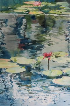 Splash Watercolor Competition | ... Echo : Painting lily pads and reflections on water with watercolor