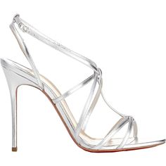 Christian Louboutin Women's Youpiyou Sandals (£575) ❤ liked on Polyvore featuring shoes, sandals, heels, christian louboutin, silver, strap sandals, silver strappy sandals, strap heel sandals, ankle wrap sandals and silver sandals
