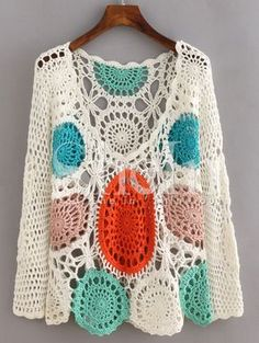 SheIn offers Multicolor Long Sleeve Scoop Neck Crochet Blouse & more to fit your fashionable needs. Crochet Cardigan Pattern, Crochet Blouse, Knit Crochet, Crochet Stitches, Crochet Hooks, Knitting Patterns, Crochet Patterns, Mode Crochet, Mode Boho