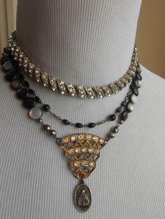 Rhinestone Black Pearl Assemblage Necklace Religious by Vinchique, $155.00