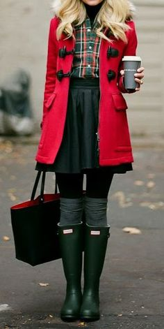Hunter boots *-*-read coat, green skirt, and that plaid blouse! i LOVE this outfit...I really would like to look like this girl.