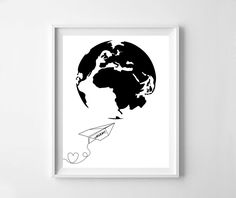Paper plane paper plane print world map heart black by NeoArtBook Crown Printable, Word Map, Heart Map, Origami, Long Haired Dachshund, Dog Silhouette, Diy Papier, Paper Plane, Black Paper