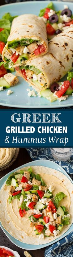 Grilled Chicken & Hummus Wrap - Cooking Classy Greek Grilled Chicken and Hummus Wrap - SO GOOD! Like a simplified version of a gyro.Greek Grilled Chicken and Hummus Wrap - SO GOOD! Like a simplified version of a gyro. Lunch Recipes, Cooking Recipes, Healthy Recipes, Healthy Wraps, Grilled Chicken Recipes Healthy Clean Eating, Sandwich Recipes, Healthy Summer Dinner Recipes, Vegetarian Recipes, Low Carb Wraps