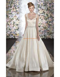 Robe de mariée princesse satin avec bretelles perlées