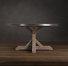 Railroad Tie Dining Room Table - trestle base with zinc finish top