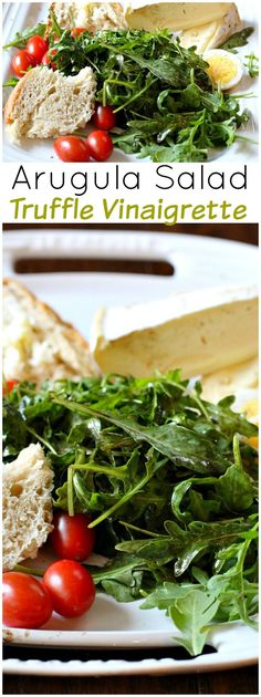 A perfect healthy light Summer dinner. Arugula is tossed with a vinaigrette of Truffle Oil and Balsamic Vinegar. Add scrumptious double cream cheese and a chunk of bread and you have a perfect treat for dining on the patio. Don't forget a glass of white w Arugula Salad Recipes, Easy Salad Recipes, Easy Dinner Recipes, Healthy Recipes, Dinner Ideas, Pickled Beet Salad, Truffle Sauce, Truffle Fries, Truffle Recipe