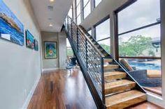 ... lounge chair modern ottoman open risers wood block stairs wood railing