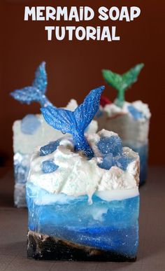Mermaid Soap Tutorial! Make waves with this awesome mermaid soap tutorial that lets you explore your creative side! Crafted using a combination of melt and pour soap bases, this soapmaking project makes a fun filled weekend project you can enjoy with friends or family!