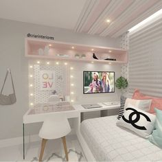 Room Design Bedroom, Girl Bedroom Designs, Bedroom Layouts, Room Ideas Bedroom, Home Room Design, Beauty Room Decor, Diy Projects For Bedroom, Bedroom Decor For Teen Girls, Cute Room Decor