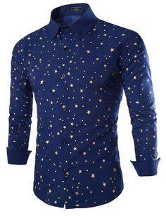 New Men'S Shirt Men'S Casual Slim Long Sleeve Fashion Stars Print Shirts Dress Shirts For Mens Business Shirts 15 9195 From Eleng, $16.72   Dhgate.Com
