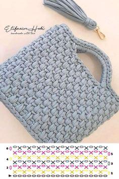 Bag Crochet, Crochet Handbags, Crochet Purses, Crochet Stitches, Crochet Granny, Knitting Yarn, Knitting Patterns, Crochet Patterns, Knitting Tutorials