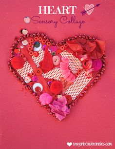 Heart Sensory Valentine Collage - An Invitation to Explore with Red Materials by Crayon Box Chronicles.