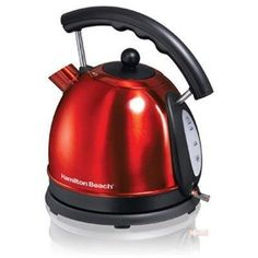 The Hamilton Beach stainless steel electric kettle has large 1.7-liter capacity (that's 10 cups of tea), 1,500 watts of power, and a sturdy build quality. Other key features of the small appliance include a drip-free spout, and a handy water-level window. Pick from a neutral stainless steel or a fun candy apple red color.