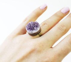 This small Amethyst circle ring is perfect for those who wish to be a little more subtle in their statement pieces. $38