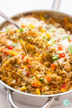 Taco rice skillet. Bonner bits- my new favorite meal. Used a second can of (mild) rotel instead of salsa. Added corn and cilantro. Too spicy- doesnt need cayenne next time. We crumbled/dipped Juanita chips in it