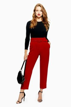619734d5bf Covered Belt Tapered Trousers. Red ...