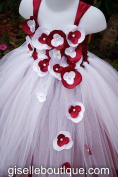 White and Dark Red TuTu Dress