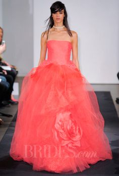 Brides.com: Vera Wang Coral Wedding Dress from Fall 2014 Collection   Click to see more from this collection!