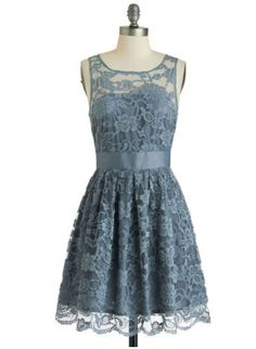 Slate blue lace...with sash